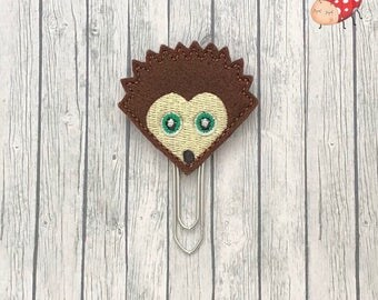Hedgehog planner clip, hedgehog paperclip, embroidered planner clip, embroidered paperclip, felt planner clip, felt paperclip
