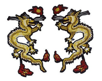 Pair of dragon iron on sew-on  Patches /Appliqué /Embroidery patch RN340