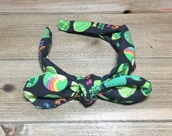 St Patricks Day Headband- Bandana Headband; St Patricks Day Bow; Tie Knot Headband; Clover Headband; Baby Headbands; Girls Headbands; Bows