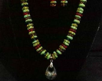 Authentic green Marble necklace and earrings
