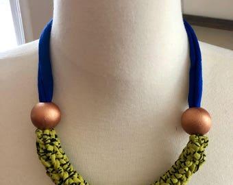 Bold statement Necklace- fabric statement necklace, unique necklace, blue necklace, bold necklace, upcycled necklace, bib necklace