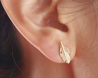 Earrings feather - plated 18 K gold, Chic and minimalist, everyday, gift, minimalist S079-40% off