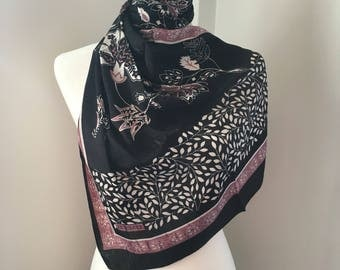 Christmas gift for her Black pale pink and White scarf, made in Turkey, good quality polyester fabric, Turkish scarf,Turkish shawl, wraps.
