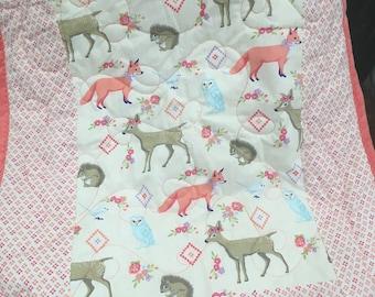 Baby girl woodland blanket