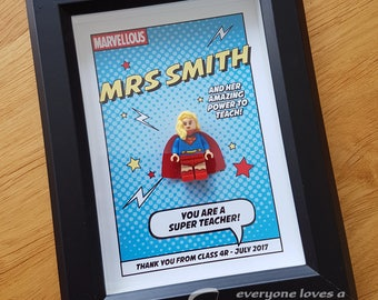 Superhero Teacher frame - teachers personalised gift, gifts for teachers, thank you gift