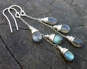 Labradorite Earrings, Sterling silver 925 Blue Shades Labradorite Jewelry Handmade Jewelry Wire Wrapped Long Dangle Earrings Bridal Earrings