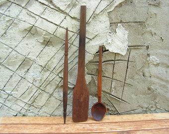Set of 2 Rustic Wooden Spoons and Antique Spindle Primitive Spoons Wooden Wool Spindle Antique Kitchen Decor Primitive Decor