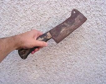 Primitive Cleaver Knife Meat Chopper Vintage Farmhouse Bladeantique Old Hand-forget Steel Meat Cleaver Antique butcher knife chopeer
