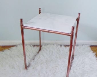 Copper and Marble Sidetable
