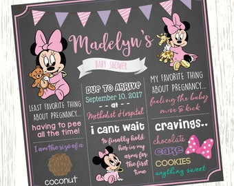 Minnie Mouse Baby Shower Chalkboard Sign Minnie Mouse Chalkboard
