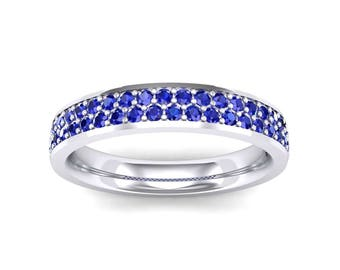Flat Two Row Pave Blue Sapphire Ring, Blue Sapphire Ring, Flat Two