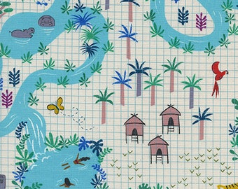 One Yard Cut - Lagoon Map in Natural - Lagoon by Rashida Coleman-Hale for Cotton + Steel -  Quilters Cotton