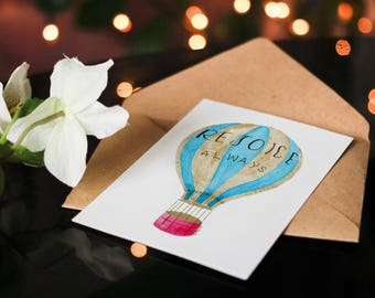 Blank Greeting Cards, Thank You Card,  Christian Greeting Card, Encouragement Card, All Occasion Card - Hot Air Balloon Watercolor