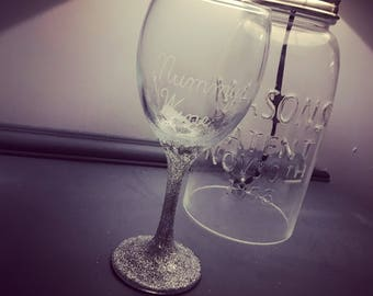 Glittered Stem Wine Glass, Personalised Wine Glass, Glittery Glass, Mummys Wine