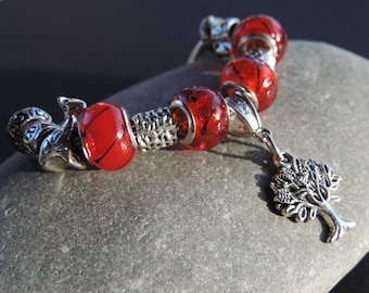 Charms tree bracelet red beads