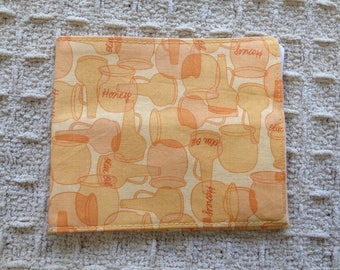 Yellow Honey and Olive Oil Jug Print Fabric Montessori Inspired Two Pocketed Pouch with Cream Lining