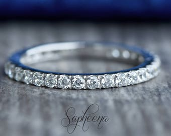 White Gold Eternity Wedding Band in Solid 14k White Gold, Engagement Ring, Wedding Ring, Bridal, Stacking Ring, Gold Band by Sapheena