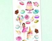Birthday Week Deco Planner Stickers / Watercolor birthday girl cake macaroons presents cupcake cake flowers
