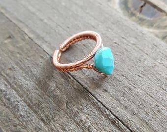 Turquoise Handmade Copper Ring