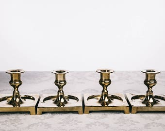 Swedish solid brass candle holders early 1900s