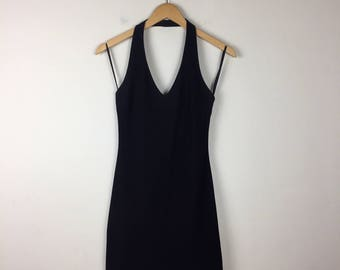 90s Black Halter Dress Size Medium, Little Black Dress, Black Mini Dress