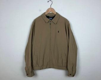 Vintage Polo Jacket Size Large, Ralph Lauren Jacket, Beige Polo Jacket, 90s Ralph Lauren Jacket