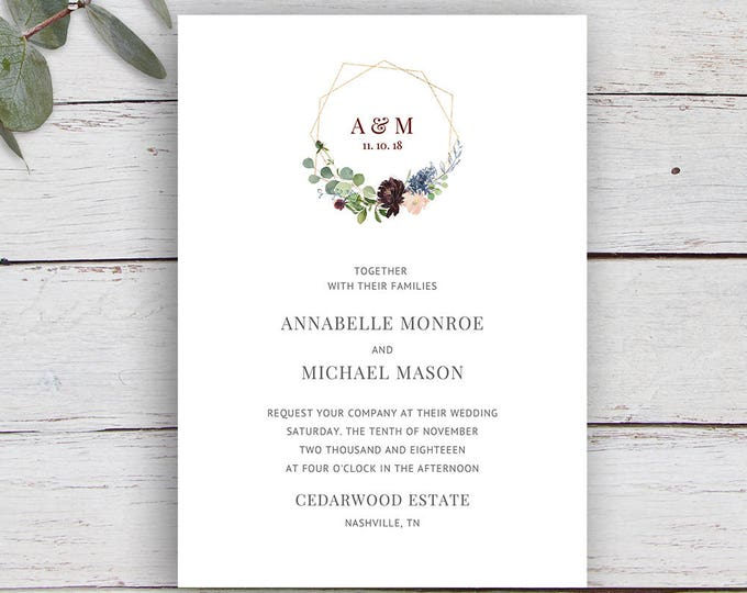 Featured listing image: Geo Floral, Monogram Invitation, gold geometric Invitation, Printable Invitation Template, Wedding Invitation, Floral, Foliage, Monogram