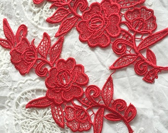 1 Pair Lace Applique Solubility Trim Appliques in Red for Dress,DIY,Headpieces, WL862
