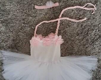 Newborn romper with tutu skirt