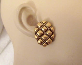 Vintage YSL Yves Saint Laurent Clip Earrings Quilted Oval Rope SIGNED Gold Superb!