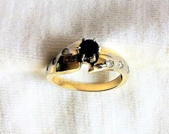 Estate 14K Yellow White Gold Genuine Diamond Sapphire Ring sz 7 Wedding Engagement Band 4.2g Modern Flush Design Solitaire 14 k kt Wedding