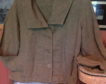 Flax button down, boxy loose cut, shawl collar, heavy textured thick weave, khaki green linen jacket made in Lithuania