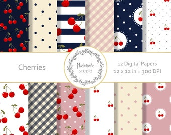 Cherry digital paper - Cherries clipart - Cherry Clipart - Cherry Scrapbook paper - Cherries Digital Paper - Commercial use