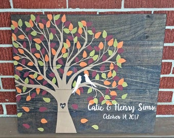 Fall wedding guestbook alternative, wedding guestbook tree, personalized wedding guestbook, fall wedding sign, wood guestbook