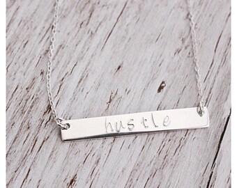 hustle- Sterling Silver Rectangle Bar Necklace