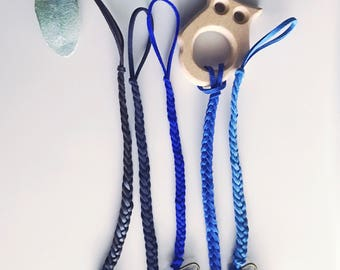 Braided Pacifier Clip/ Teething Toy Clip/ Pacifier Holder/ Dummy Clip/ Paci Clip/ Toy Clip: Blue Collection.
