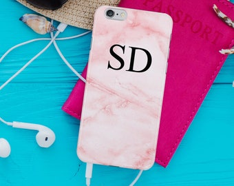 Pink Marble Phone Case Personalised Initials iPhone 7, 6S, 5S, Samsung Galaxy S8, S7, S6 Cover Pink Fashion Phone Case