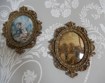 Pair Vintage Italian Oval Ornate Brass Photo Frames c 1960s, Ornate Picture Frames, Wall Hangings,