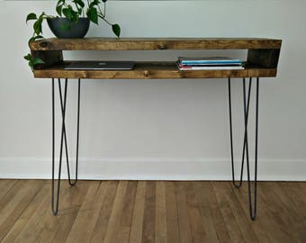 Reclaimed Hall Console, Mid Century Hall Table, Side Console on Hairpin Legs
