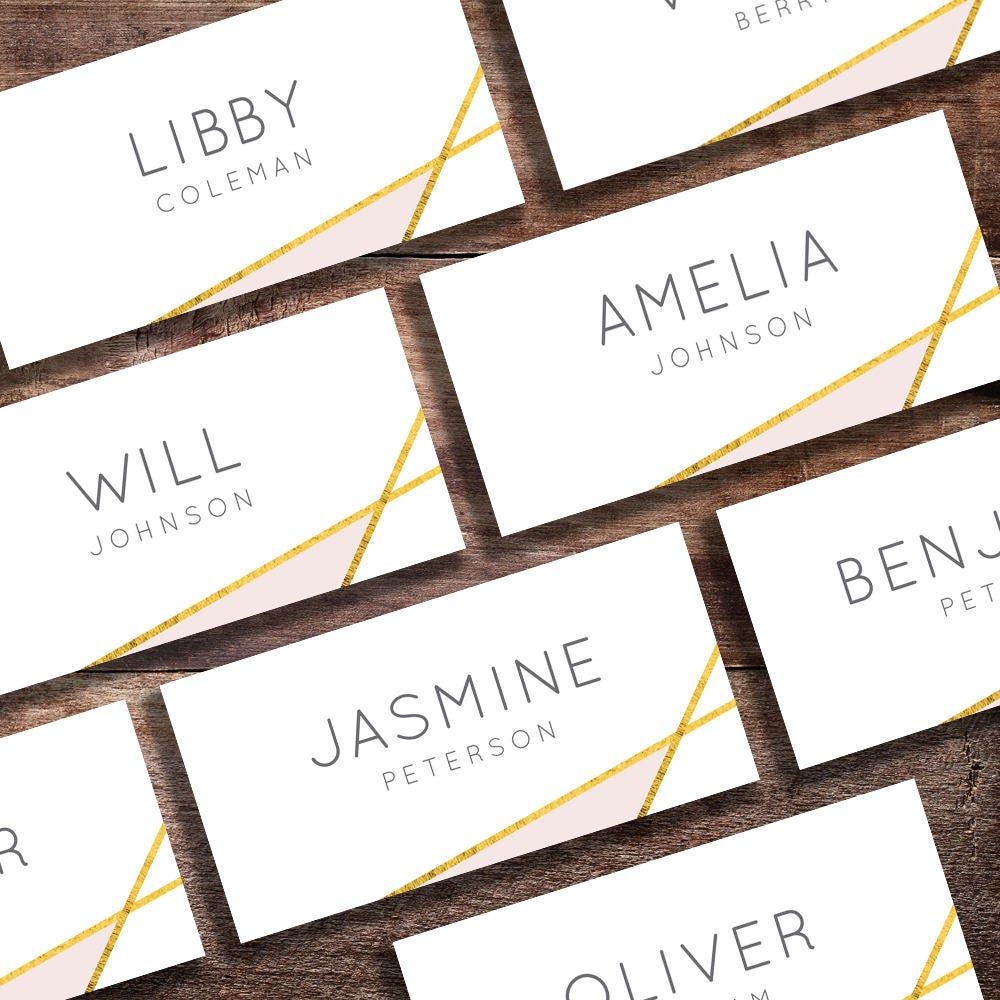 wedding place cards printable wedding name cards folded geometric