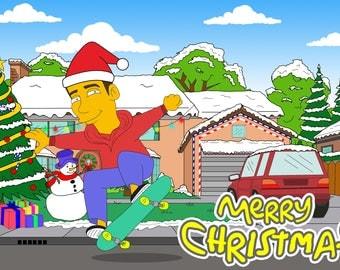 Custom Portrait, The Simpsons, Christmas, Custom Christmas, Personalized Christmas, Christmas Drawing, Christmas Portrait, Christmas Art