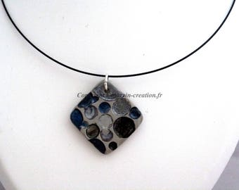 Black Choker and concrete pendant necklace