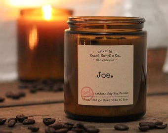 Coffee Scented SOY WAX CANDLE Artisan Handmade Candles - Soy Candles - Custom Candles - Aromatherapy Candles with essential oils