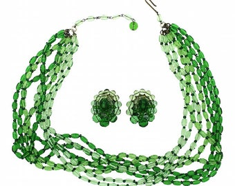 1950s West German Vintage Green Glass Earrings and Necklace Set