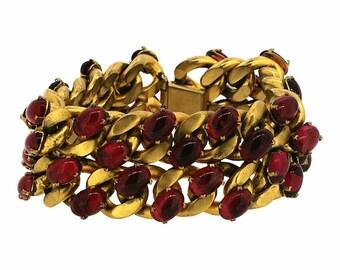 1940s Red Glass and Gilt Metal Vintage Statement Bracelet