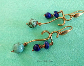 Bronze earrings with turquoise and lapis