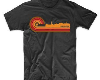 Retro Style Burlington Vermont Skyline T-Shirt