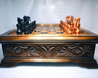 Wood Chess Set, Huge Wooden Chess Board and Chess Pieces 50x50cm (20''x20''), Handmade Game Board