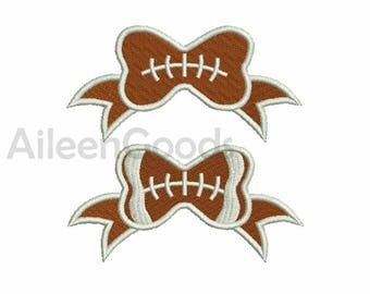 Hair Bow  Football Embroidery design 6 Size  INSTANT download machine embroidery