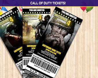 Call of Duty Birthday ticket Invitation, Call of Duty Party ticket Invitation, Call of Duty  Invite, Digital File Printable ticket